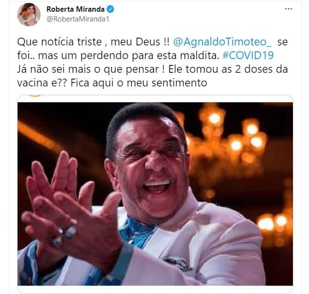 Roberta Miranda faz homenagem a Agnaldo Timteo Foto Reproduo Twitter