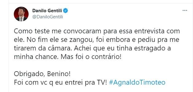 Danilo Gentili adeus a Agnaldo Timteo Foto Reproduo Twitter e Reproduo Instagram