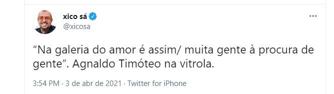 Xico S adeus a Agnaldo Timteo Foto Reproduo Twitter e Reproduo Instagram