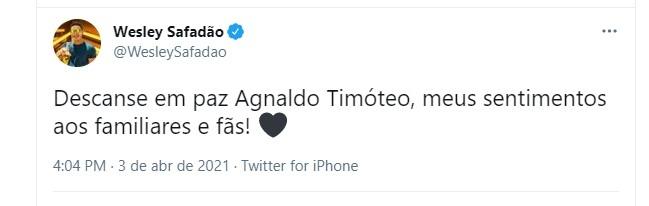 Wesley Safado lamenta morte d Agnaldo Timteo Foto Reproduo Twitter e Reproduo Instagram