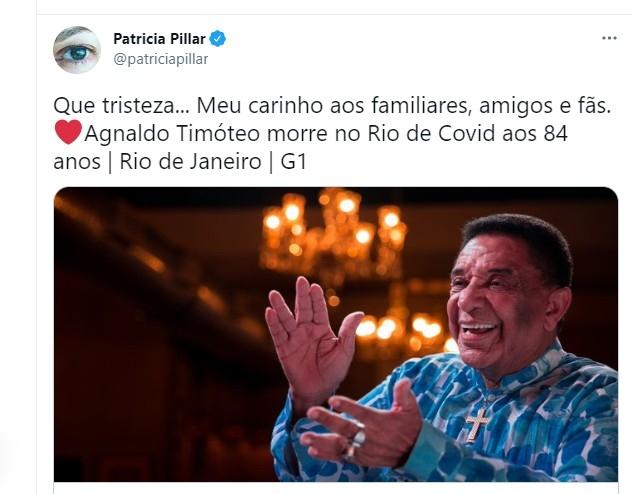 Patrcia Pillar lamenta morte d Agnaldo Timteo Foto Reproduo Twitter e Reproduo Instagram