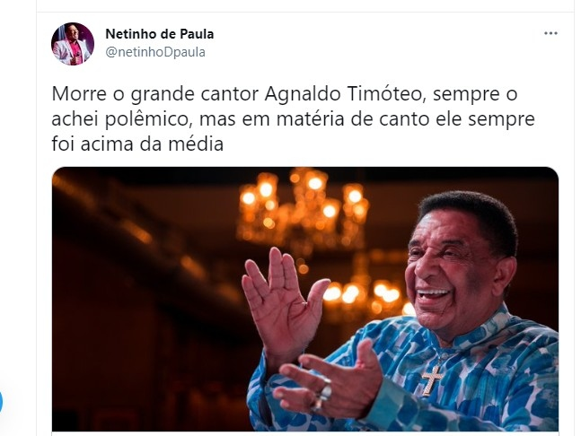 Netinho se despede de Agnaldo Timteo Foto Reproduo Twitter e Reproduo Instagram