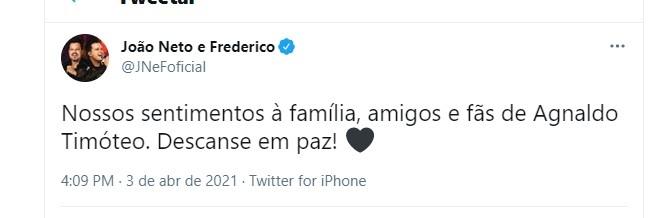 Joo Neto e Frederico despedida para Agnaldo Timteo Foto Reproduo Twitter