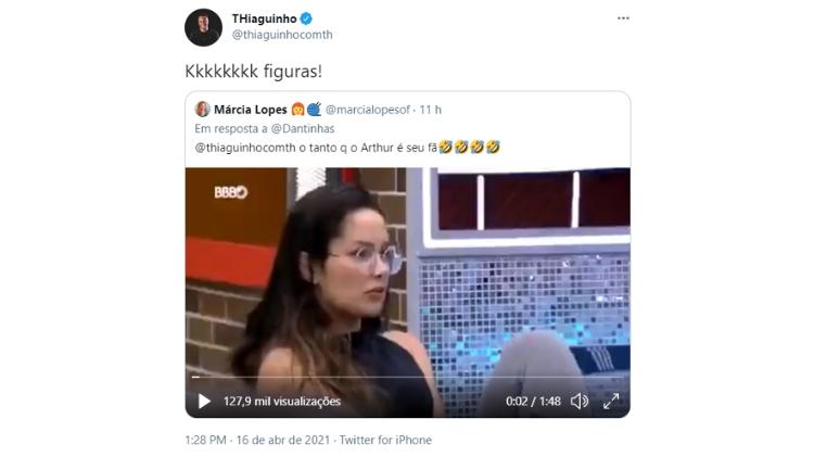 BBB 21 Thiaguinho responde Juliette - Reproduo Twitter - Reproduo Twitter
